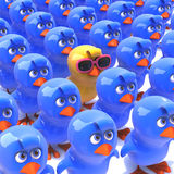 3d One yellow chick in a crowd of bluebirds. 3d render of one yellow chick in pink sunglasses in a crowd of blue chicks Stock Photo