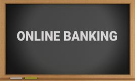 3d Online Banking written on blackboard. 3d illustration. Online Banking written on blackboard background. Pay Concept Royalty Free Stock Photos