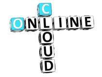 3D Online Wolkenkruiswoordraadsel Stock Foto