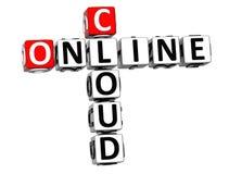 3D Online Wolkenkruiswoordraadsel Stock Afbeelding