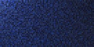 3d onregelmatige grungy mozaïekmuur in diep blauw Stock Fotografie