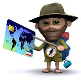 3d Ontdekkingsreiziger betaalt met zijn debetkaart Stock Afbeeldingen
