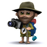 3d Ontdekkingsreiziger die beelden met zijn camera nemen Stock Afbeelding