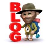 3d Ontdekkingsreiziger heeft een blog Stock Foto