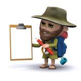 3d Ontdekkingsreiziger met klembord en potlood Stock Afbeeldingen