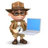 3d Ontdekkingsreiziger met laptop Stock Foto's