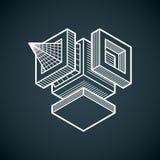 3D ontwerp, abstracte vector dimensionale kubusvorm Royalty-vrije Stock Afbeelding