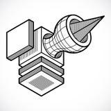 3D ontwerp, abstracte vector dimensionale kubusvorm Royalty-vrije Stock Fotografie