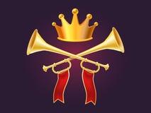 3d ontwerp van glanzende gouden metaalhoorn en glanzende kroon realistisch Stock Afbeeldingen