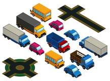 3D ontwerp voor verschillende types van auto's en wegen stock illustratie