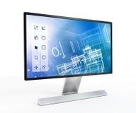 3D ontwerpsoftware op het computerscherm Stock Afbeelding