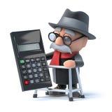 3d Opa die een calculator gebruiken Stock Afbeelding