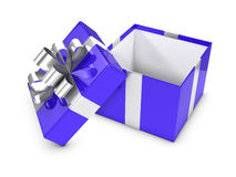 3d Open blue and silver gift box Royalty Free Stock Image
