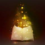 3d Open Book With Magic Lights. 3d empty open book with bookmark and  magic lights on dark background vector illustration Stock Photography