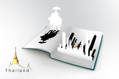 3D open book with thailand. Bangkok travel concept Stock Illustration
