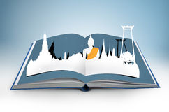 3D open book with thailand. Bangkok travel concept Royalty Free Illustration