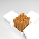 3d open box with extrude text. As thinking outside the box concept Royalty Free Stock Photo