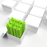 3d open box with extrude text. As thinking outside the box concept Royalty Free Stock Images