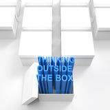 3d open box with extrude text. As thinking outside the box concept Stock Photos