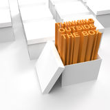 3d open box with extrude text. As thinking outside the box concept Royalty Free Stock Image