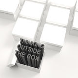 3d open box with extrude text. As thinking outside the box concept Royalty Free Stock Photography