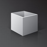 3D Open Box Mockup. Box on white background with reflection and. 3D Open Box Mock-up. Box on white background with reflection and shadows Stock Image