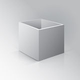 3D Open Box Mockup. Box on white background with reflection and. Shadows Royalty Free Stock Photos