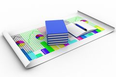 3d open and closed books with graph and pencil Royalty Free Stock Photography