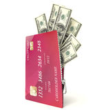 3d open credit card with dollar bills,  white background Royalty Free Stock Photos