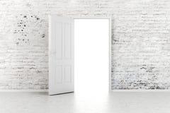 3d open deur in een uitstekende bakstenen muur Stock Afbeelding