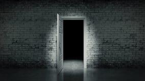 3d open deur in een witte uitstekende bakstenen muur Royalty-vrije Stock Afbeeldingen