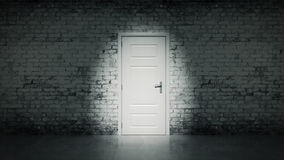 3d open door in a white vintage brick wall Stock Photo