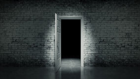 3d open door in a white vintage brick wall. Design made in 3D Royalty Free Stock Images