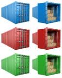 3D Open en dichte container met kartondozen Stock Foto's