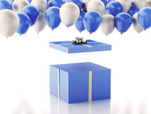 3d Open gift box with blue and white baloons on white background Royalty Free Stock Photography