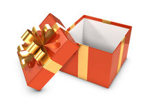 3d Open gift box with gold ribbon Royalty Free Stock Photos