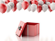 3d Open gift box with red and white baloons on white background Royalty Free Stock Photo