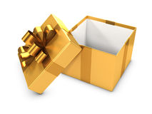 3d Open gold gift box Stock Photo
