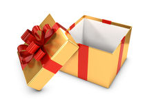 3d Open gold and red gift box Royalty Free Stock Photography