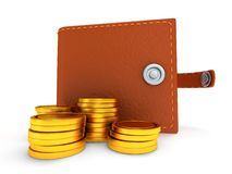 3d of open leather wallet and coins on white Stock Photo