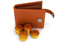 3d of open leather wallet and coins on white Royalty Free Stock Photography