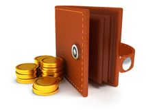 3d of open leather wallet and coins on white Royalty Free Stock Images
