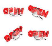 3D OPEN and magnifying glass icon. 3D Icon Design Series. Stock Photography