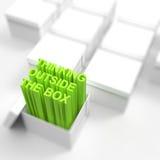 3d open vakje met drijft tekst uit zoals denkend buiten het vakje Royalty-vrije Stock Afbeelding