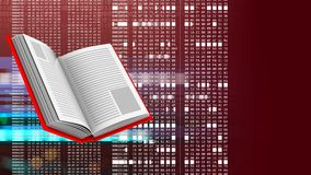3d opened book. Abstract 3d red background with opened book and hexadecimal code Royalty Free Stock Image