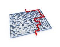 3d opgeloste raadsel van het labyrintlabyrint Royalty-vrije Stock Afbeeldingen