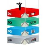 3D opgeschorte platforms met pictogrammen voor bedrijfswinde Royalty-vrije Stock Afbeelding