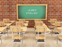 3d Opróżniają sala lekcyjną i chalkboard z uczy się angielszczyzny Royalty Ilustracja