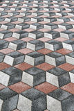 3d optical illusion. Old tiles with 3d optical illusion stock images