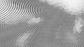 3d optische illusie van gebogen geruite oppervlakte, geeft computer geproduceerde achtergrond terug royalty-vrije illustratie